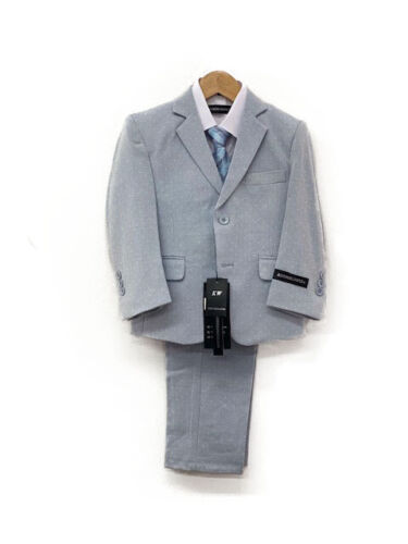 Kids World of USA NEW Baby Blue/Gray Modern Stylish Boys 5 PC Suits Sizes 4T-18