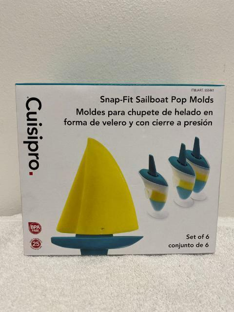 Cuisipro Popsicle Maker 6 Snap-Fit Sailboat Ice Pop Molds BP
