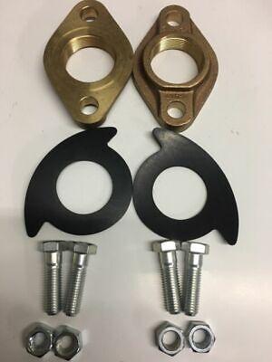 2 Double Brass Water Meter Oval Meter Flange Kit- New