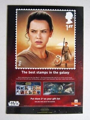 STAR WARS : THE FORCE AWAKENS. ROYAL MAIL UK STAMP LARGE CARD DISPLAY STAND