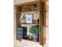 Solid waxed pine wood shelving wooden storage / display shelves shelf bookcase