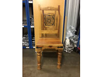 Wooden Chair Thakat Indian Jali Style Solid Wood High Back Chair with Metal Detail