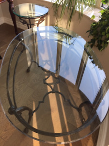 Beautiful cast iron and glass coffee table and end table