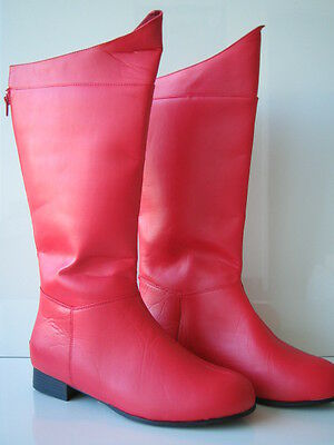 ADULT SUPERHERO HERO SUPERMAN BATMAN CAPTAIN AMERICAN RED BLACK COSTUME BOOTS - Red Superhero Boots