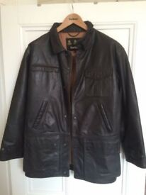Brown leather men's Barbour jacket (S) - nearly new