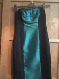 BLACK & JADE GREEN SATIN DRESS IDEA PARTY FROCK