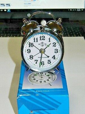 Chrome Silver Old Fashioned Alarm Clock Wind Up No Batteries Required USA Stock Old Fashion Alarm Clock