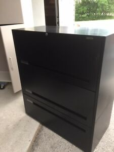 Teknion black 3 drawer lateral file cabinet (3 available)