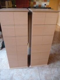 2 Beech Slim Drawer Units