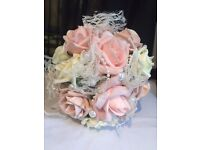 Wedding Bouquet, Bridesmaid, Flower Girl, Vintage Pink Rose, Pearl & Lace