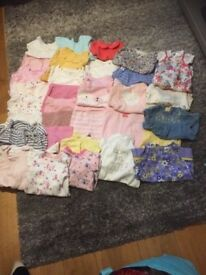 Large bundle of baby girls clothes size 3-6 months