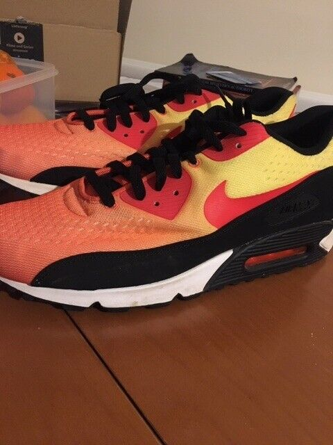 sports shoes 67958 d1e8d Nike Orange Black Red Yellow Mens Air Max 90 Trainers Sunset Pack ...