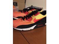 6b4dac209a8f9 Nike Orange Black Red Yellow Mens Air Max 90 Trainers Sunset Pack Em