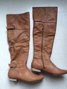 Beautiful Leather Knee High Boot. Cognac Color. Size 8