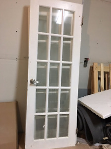 Solid Wood doors with glass panels and hardware