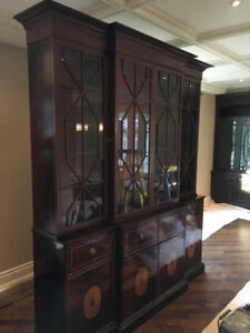 Large 18th C. reproduction display cabinet / hutch (breakfront)