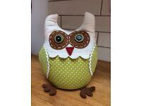 Handmade owl doorstop, brand new