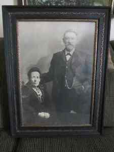 Antique Picture of a Couple in Black Frame with Gold Trim