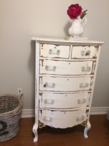 Vintage Solid Wood White Shabby Chic Dresser