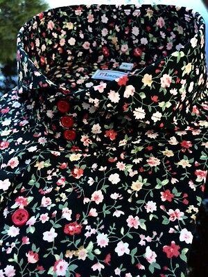 MorCouture Mens Black Floral Cutaway High Collar (Collar Mens Black Shirts)