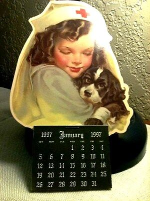 NURSE & PUPPY CALENDAR 1997-VICTORIAN GALLERY-22 years old UNUSED MADE n USA