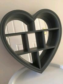 Mirrored grey heart shelf