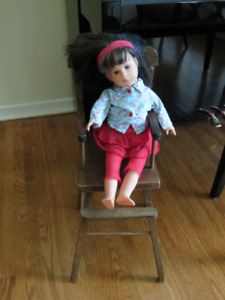 antique wooden high chair for doll & Corolle doll