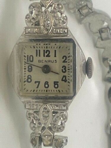 Vintage Ladies White Gold 14K Benrus Diamond Watch with Kalbe Sterling Band
