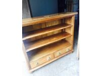 Hardwood bookcase, 3 shelves 2 drawers, £60