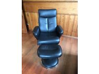 Recalling Chair and Stool Modern Style in Faux Black Leather