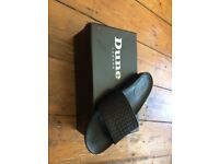 Dune London Black Woven Leather Slider Sandals Size 9