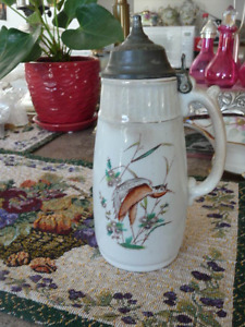 Beautiful Tall Covered English Antique Syrup Jug 1872