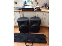 PA system DB Technologies Opera 200 speakers (1 sub faulty) with stands, HH Electronics VX-200 Amp