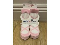 Moccons toddler slippers - brand new, never worn. Pink ballerina style. Size UK3.5/4 or 12-18mthss