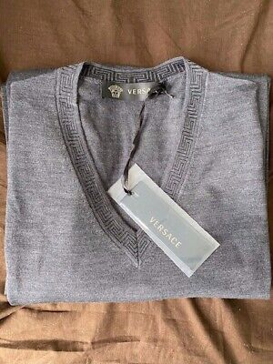 Genuine Versace V-Neck Jumper in Grey Medium