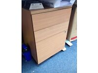 Pine underdesk drawers with locking drawer and key