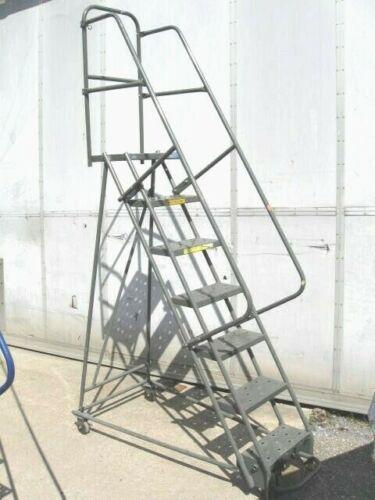 "Gillis 7 Step Steel Industrial Rolling Warehouse Ladder - 16"" steps"