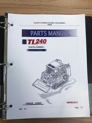 Takeuchi Tl240 Crawler Loader Parts Manual Sn 224000001 And Up