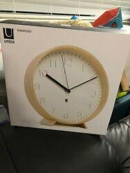 Umbra Rimwood Decorative Wooden Wall Clock  New!!!