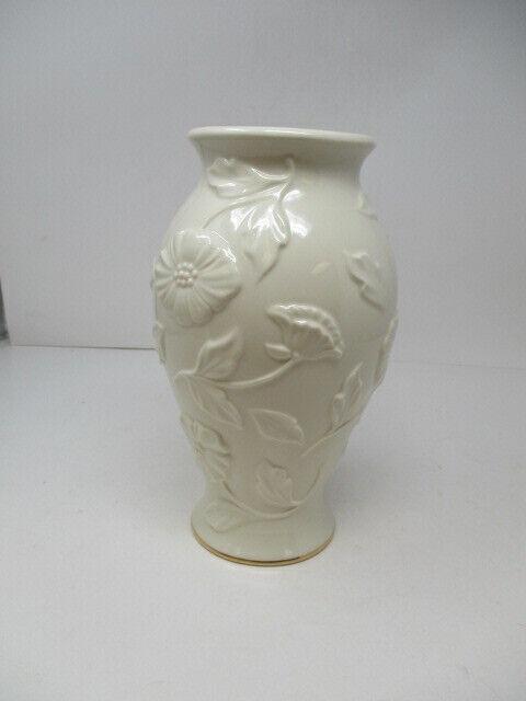 "LENOX COLLECTION Porcelain Vase 10"" Tall  Raised Flowers Design Gold Trim Base"