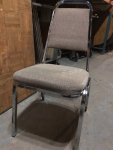 Banquet Chairs - used - Beige with Chrome Frames 300+