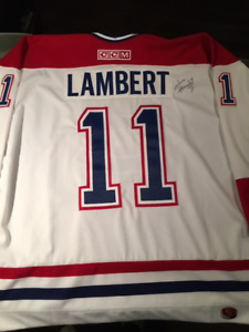 Yvon Lambert autographed jersey and hockey stick signed by 5 HOF