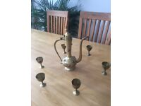 Vintage Middle Eastern Brass Tea Set