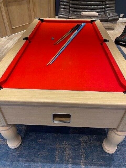 Monarch 7ft x 4ft pool table with red cloth and balls