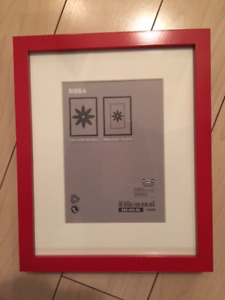 "New red Ikea RIBBA  Picture Frame 4x6"" with white matte"