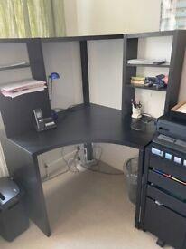 Ikea Micke corner workstation & 4 drawer unit