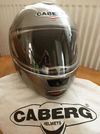 CABERG Justissimo SILVER Flip Front HELMET Large 59/60 Internal Sun Visor Motorcycle Motorbike VGC