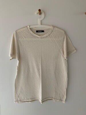 Jac and + Jack natural linen cotton oversized boyfriend tee t-shirt sz Small
