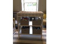 Baby Changing Dresser in White, complete with 2 changing mats, 2 shelves & 4 boxes