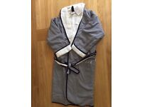 Boys dressing gown, age 7-8, new, blue/white check, white towelling lining